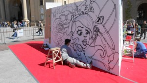 Danjer pintando la obra &#039;Baile de Mscaras&#039;